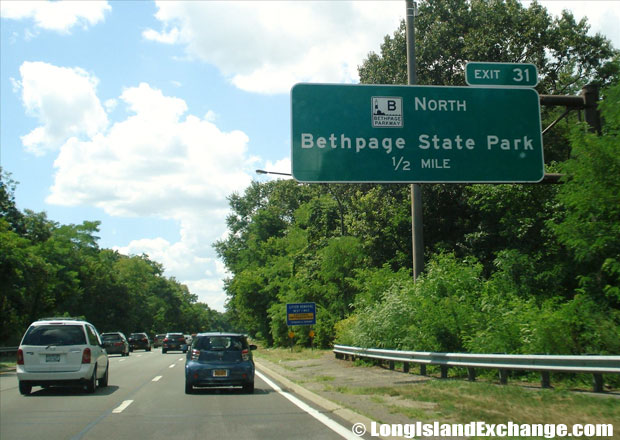 Bethpage State Parkway Upcoming Exit Westbound from Southern State Parkway, South Farmingdale