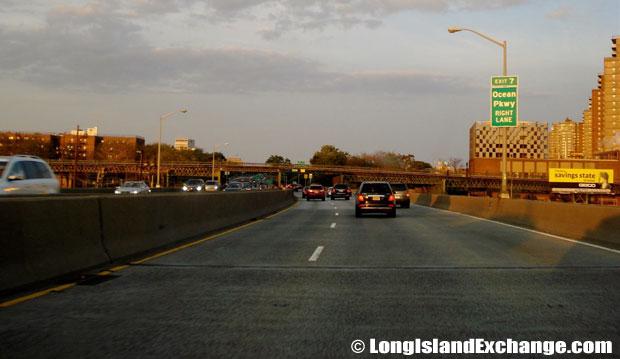 Belt Parkway eastbound at Ocean Parkway, Gravesend Brooklyn