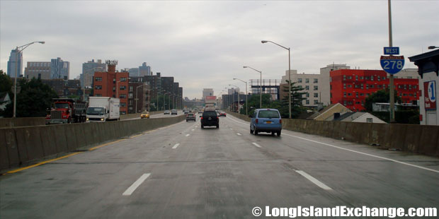 Brooklyn Queens Expressway, Westbound Approaching Tillary Street, Downtown Brooklyn