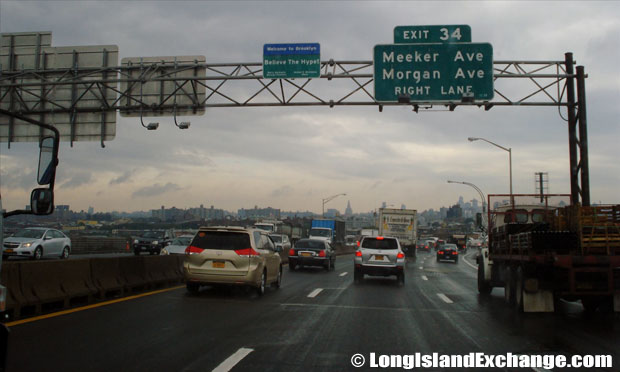 Brooklyn Queens Expressway, Westbound at Meeker Avenue Exit Haberman, Brooklyn