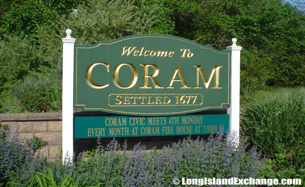 Coram Welcome Sign
