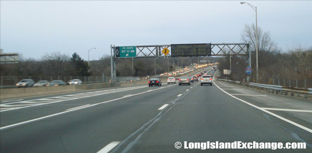 Long Island Expressway heading East from Exit 56 Route 111