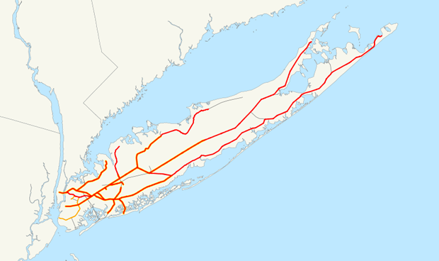 Map of the rail network of Long Island Rail Road, orange lines are freight-only