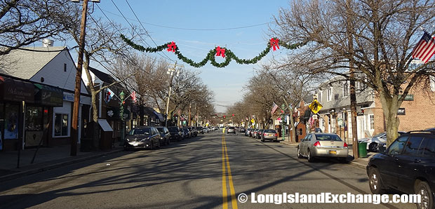 A scene in Massapequa Park illustrates a typical village main street on Long Island with shops and restaurants.
