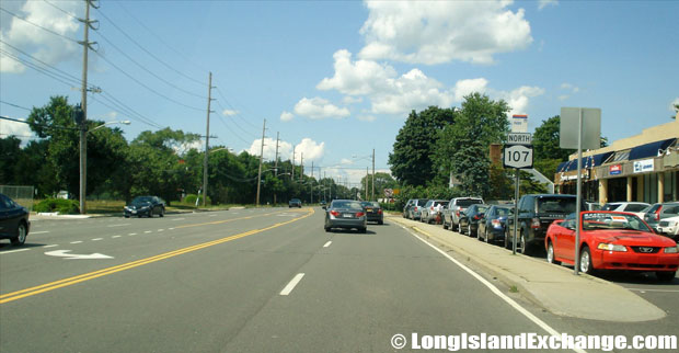Hicksville Road Route 107 Northbound from Hempstead Turnpike, Plainedge