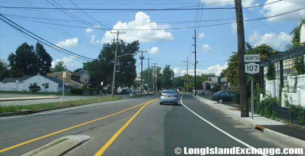 Hicksville Road Route 107 Northbound from Boundary Avenue, Plainedge