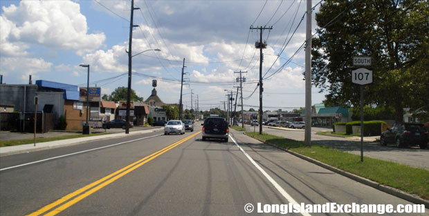Hicksville Road Route 107 Southbound approaching Stewart Avenue, Plainedge