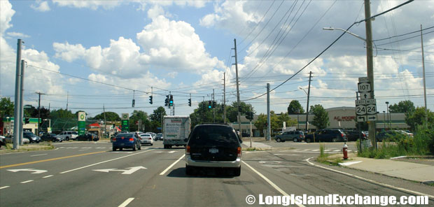 Hicksville Road Route 107 Southbound at Hempstead Turnpike, Plainedge