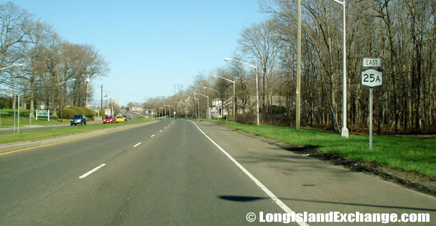 Route 25A Eastbound from North Country Road, Sound Beach