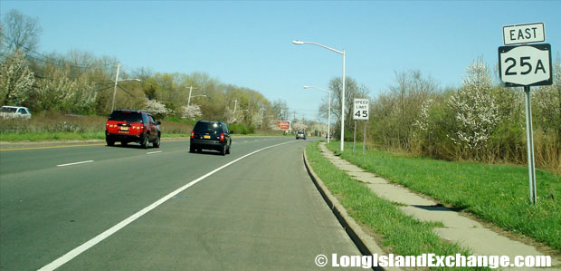 Route 25A Eastbound from Patchogue-Mount Sinai Road, Mount Sinai