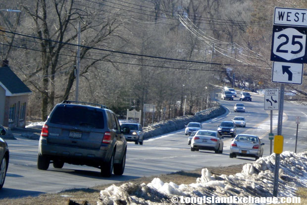 Route 25 Westbound by Route25A Saint Johnland Road, Smithtown