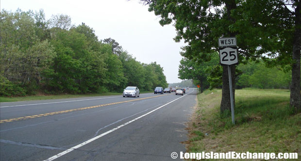 Route 25 Westbound towards Wading River-Manorville Road, Calverton
