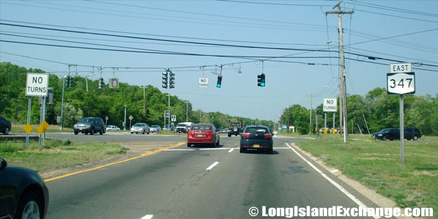 Route 347 Eastbound at Middle Country Road intersection, Lake Grove