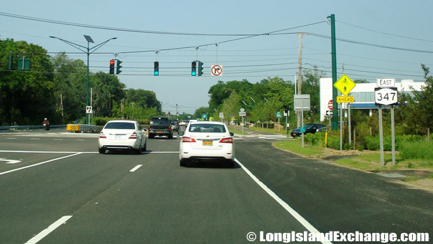 Route 347 Eastbound at Towline Road, Hauppauge