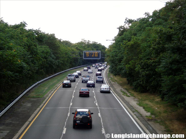 Southern State Parkway Westbound traffic looking West from Carmans Road Bridge, South Farmingdale