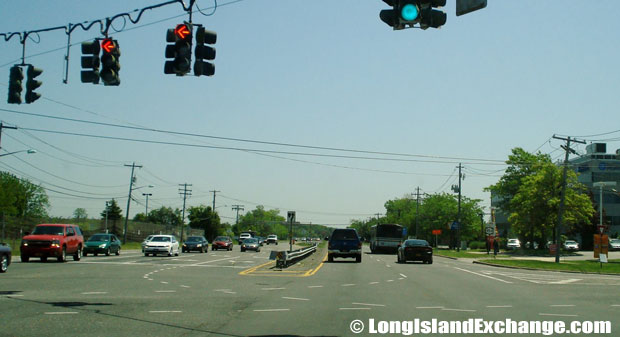 Veterans Memorial Highway Eastbound at Johnson Avenue Intersection, Bohemia
