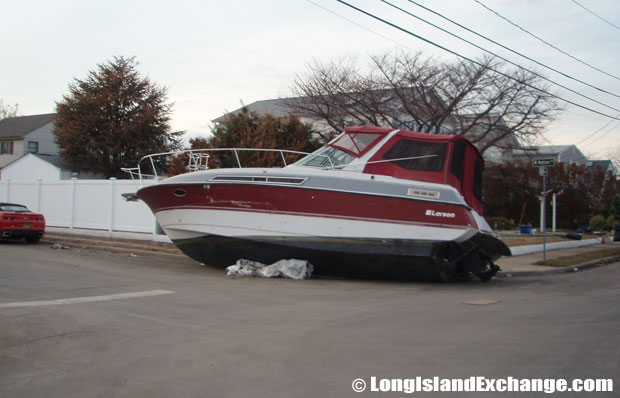 Boats, sheds and anything not nailed down were displaced throughout the neighborhood of Lindenhurst.