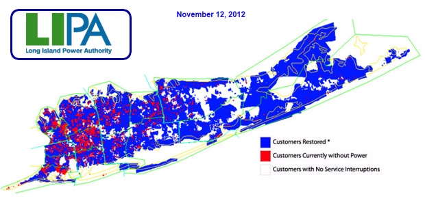 LIPA active outages map during Hurricane Sandy on Long Island