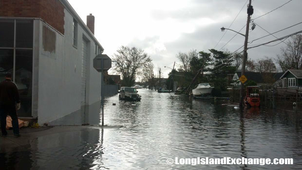 flooded side street south of Montauk Highway in Lindenhurst, N.Y.