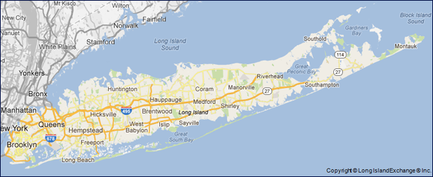 Long Island is 118 miles long from east to west and about 23 miles wide covering an entire land area of about 1,723 square miles total.