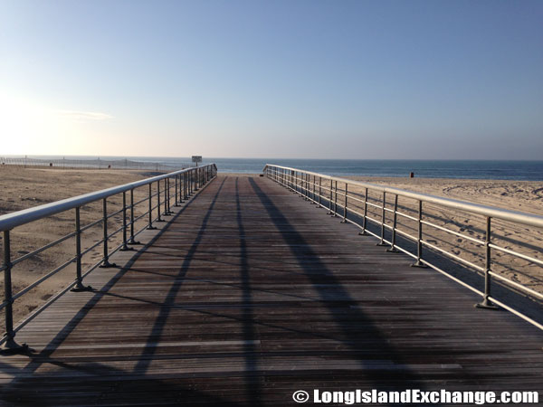 A Boardwalk Heads South To The Beach Waters At Robert Moses