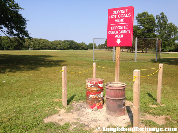 Red Marked Hot Coal Bins