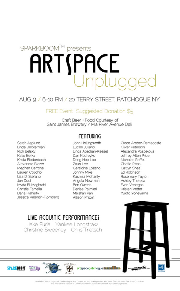 ArtSpace Unplugged by SPARKBOOM™ and Artspace Patchogue @ Artspace Patchogue, 20 Terry Street, Patchogue, NY | Patchogue | New York | United States