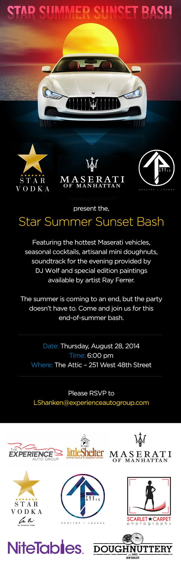 Manhattan Maserati Presents Star Summer Sunset Bash @ Maserati of Manhattan | New York | New York | United States
